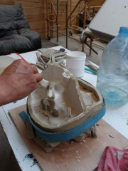 4 estampage de la deuxième chape en plâtre